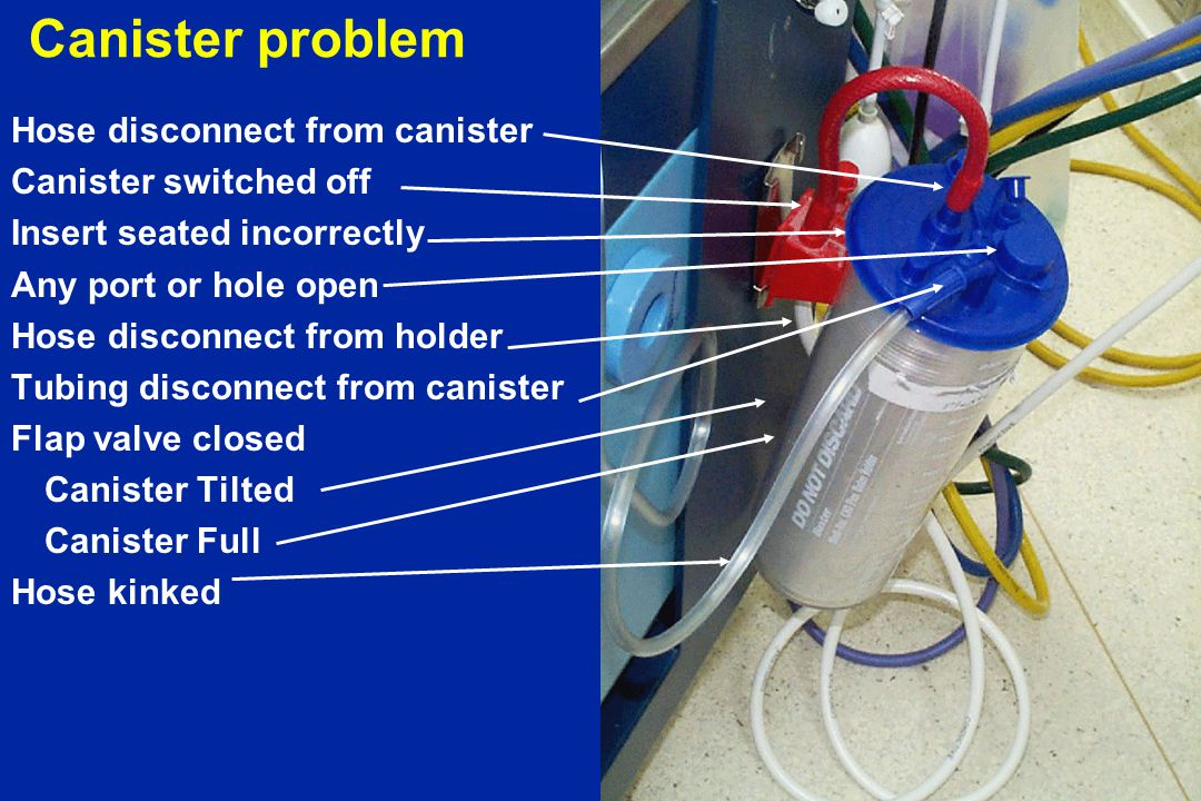 Canister problem Hose disconnect from canister Canister switched off