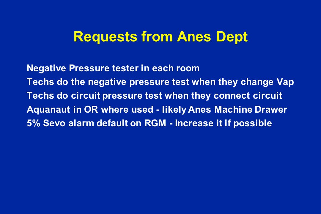 Requests from Anes Dept