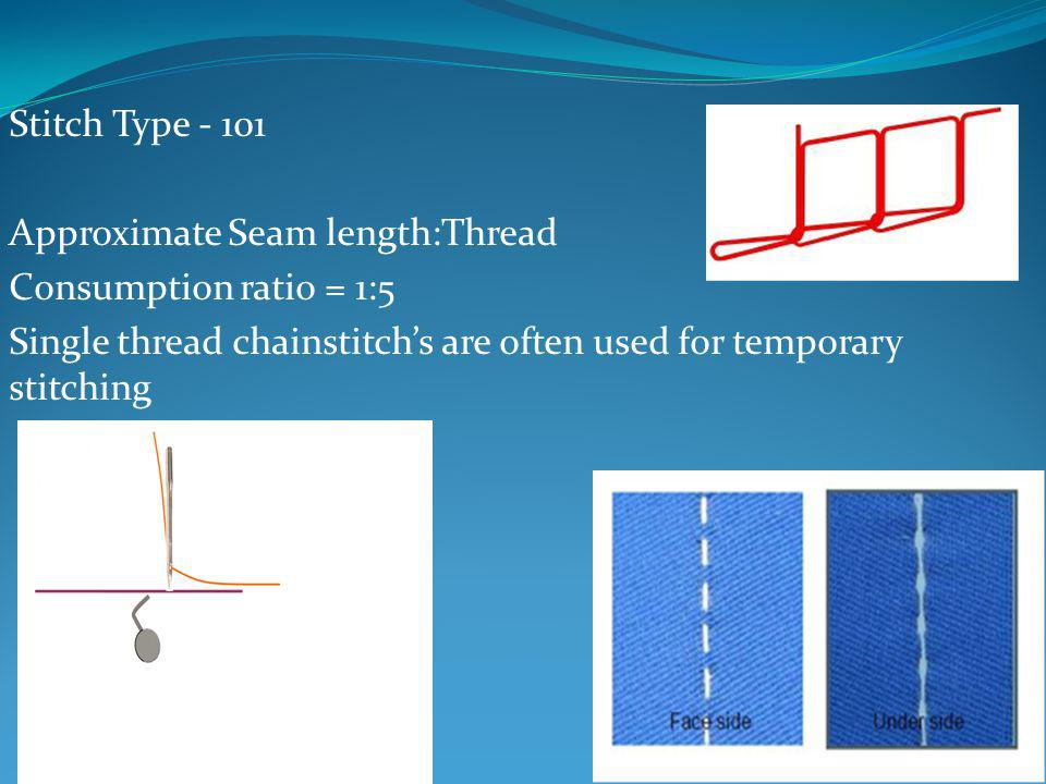Stitch Type - 101 Approximate Seam length:Thread. Consumption ratio = 1:5.