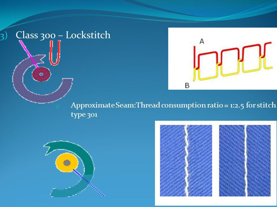 Class 300 – Lockstitch Approximate Seam:Thread consumption ratio = 1:2.5 for stitch type 301