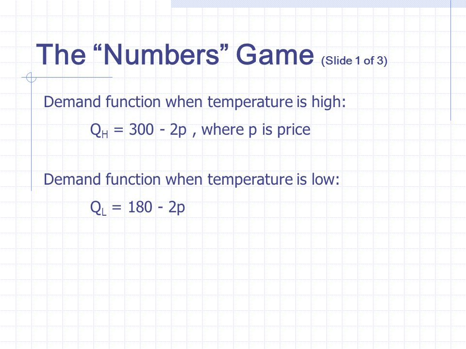 The Numbers Game (Slide 1 of 3)