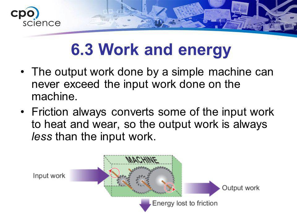 6.3 Work and energy The output work done by a simple machine can never exceed the input work done on the machine.