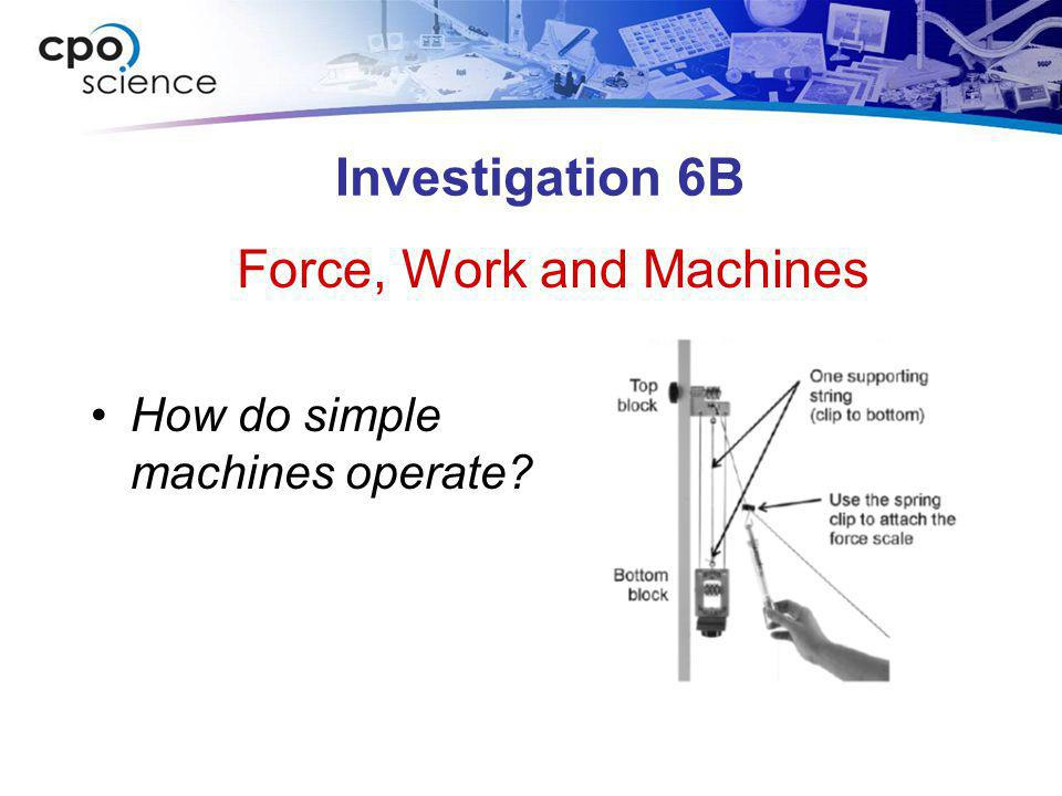 Force, Work and Machines