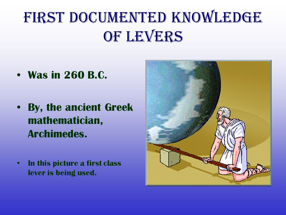 First Documented Knowledge of levers