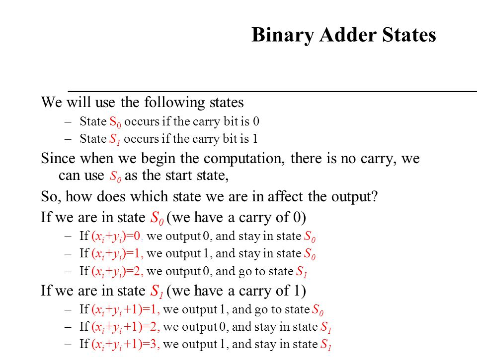 Binary Adder States We will use the following states