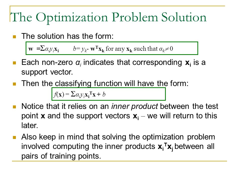 The Optimization Problem Solution