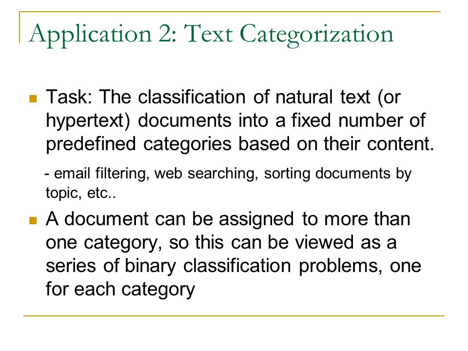 Application 2: Text Categorization