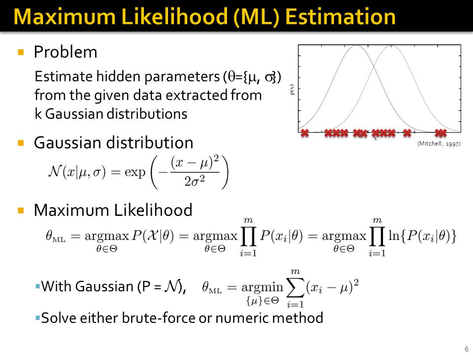 EM algorithm Problems in ML estimation