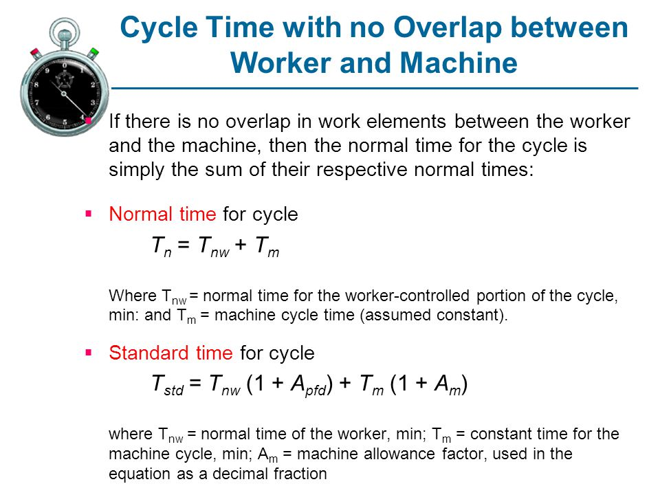 Cycle Time with no Overlap between Worker and Machine