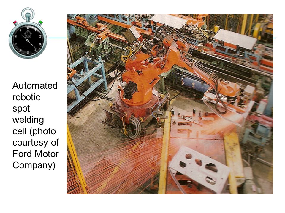 Automated robotic spot welding cell (photo courtesy of Ford Motor Company)