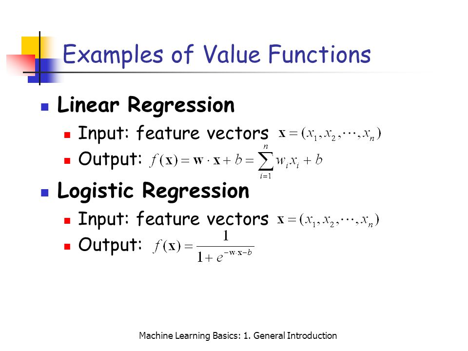 Examples of Value Functions
