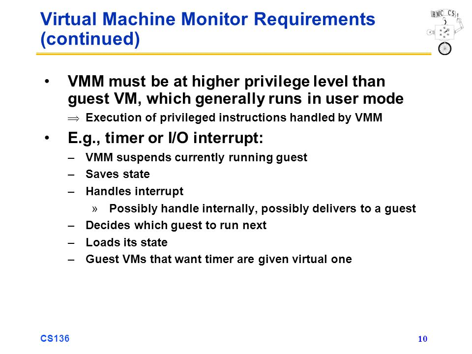 Virtual Machine Monitor Requirements (continued)