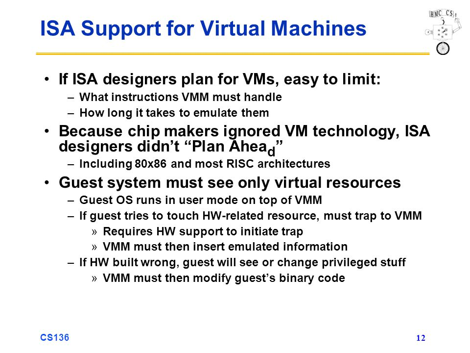 ISA Support for Virtual Machines