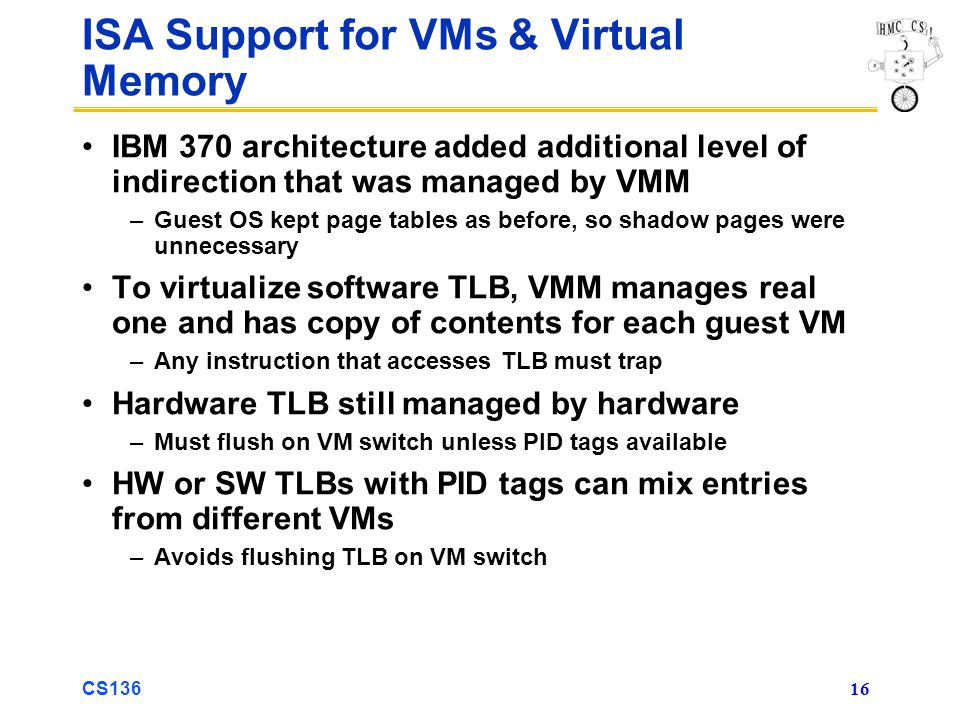 ISA Support for VMs & Virtual Memory