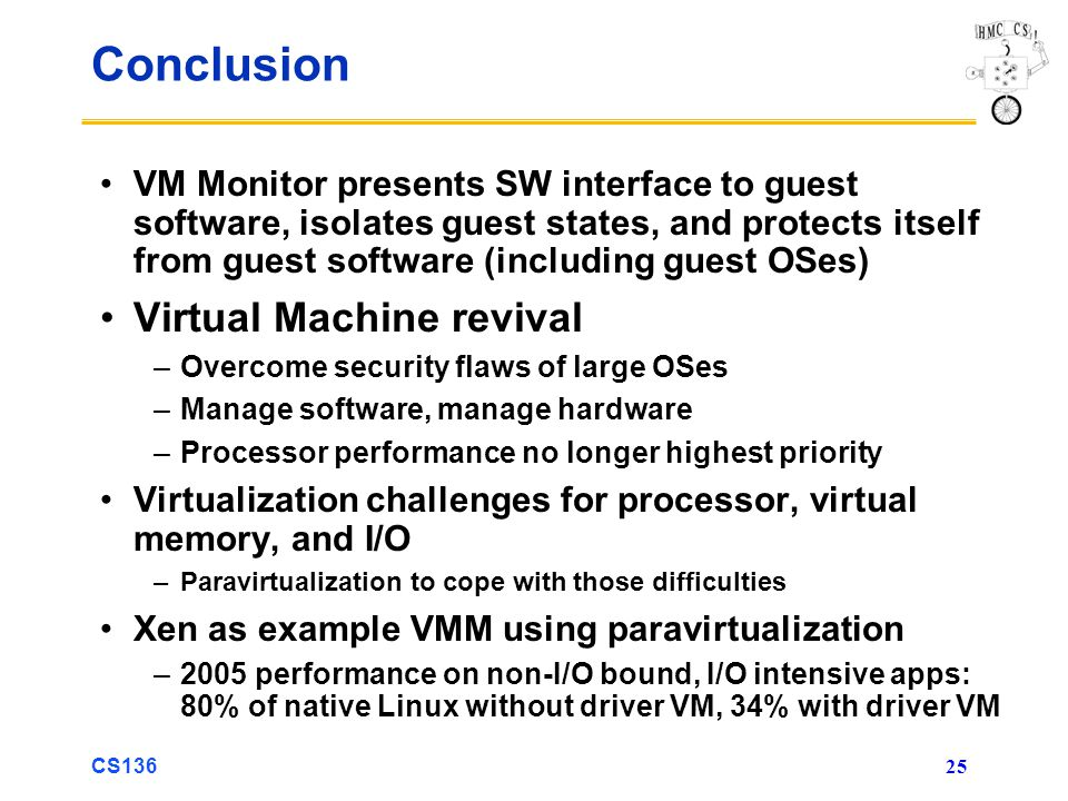 Conclusion Virtual Machine revival