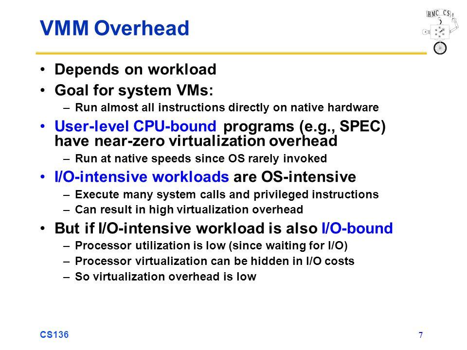 VMM Overhead Depends on workload Goal for system VMs:
