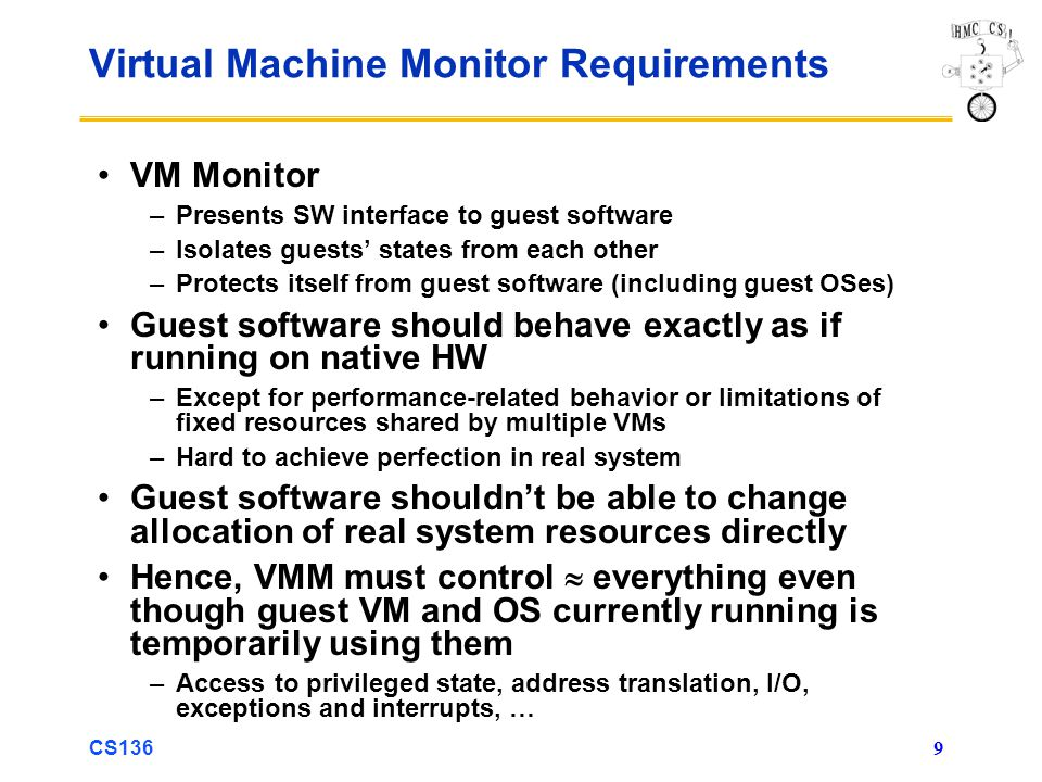 Virtual Machine Monitor Requirements