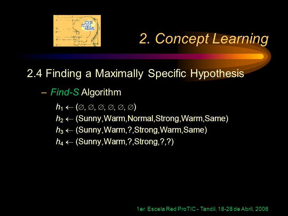 2. Concept Learning 2.4 Finding a Maximally Specific Hypothesis