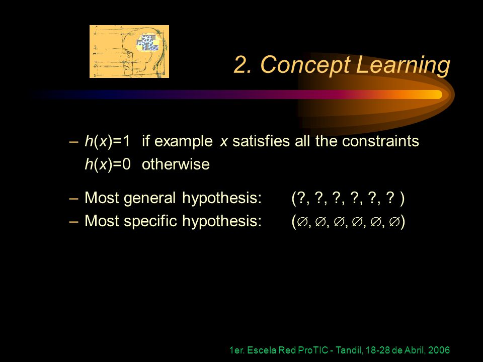 2. Concept Learning h(x)=1 if example x satisfies all the constraints