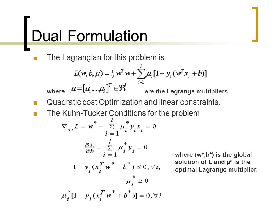 Dual Formulation The Lagrangian for this problem is