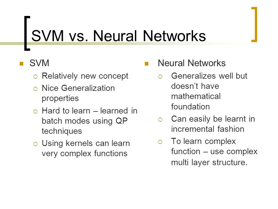 SVM vs. Neural Networks SVM Neural Networks Relatively new concept