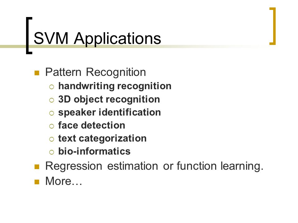 SVM Applications Pattern Recognition