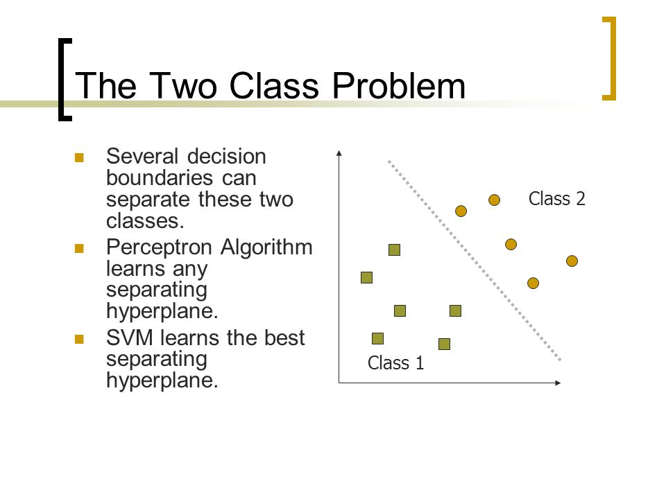The Two Class Problem Several decision boundaries can separate these two classes. Perceptron Algorithm learns any separating hyperplane.