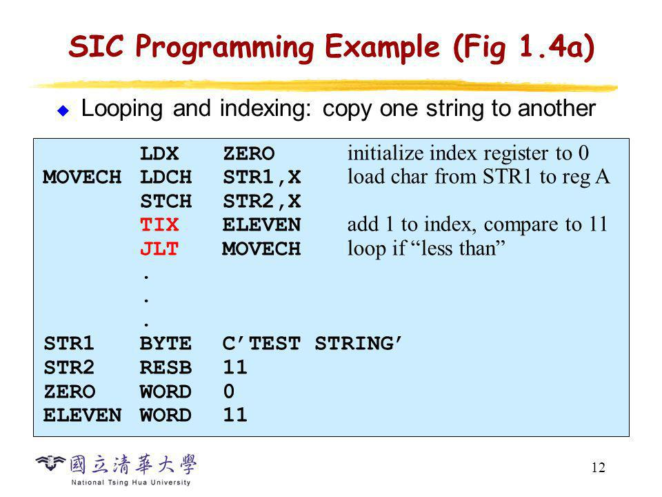 SIC Programming Example (Fig 1.5a)