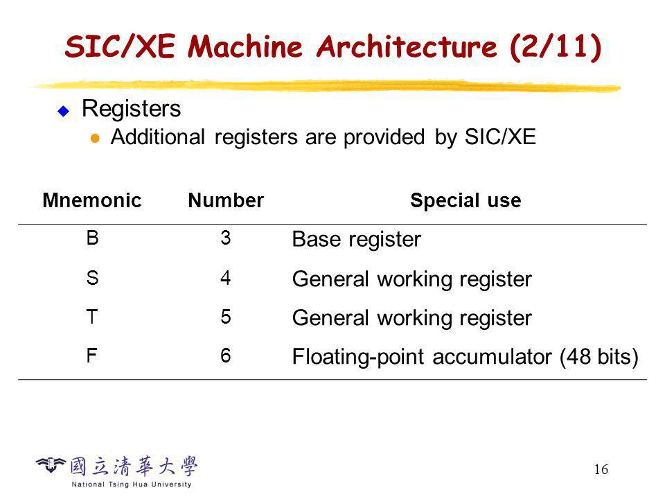 SIC/XE Machine Architecture (3/11)