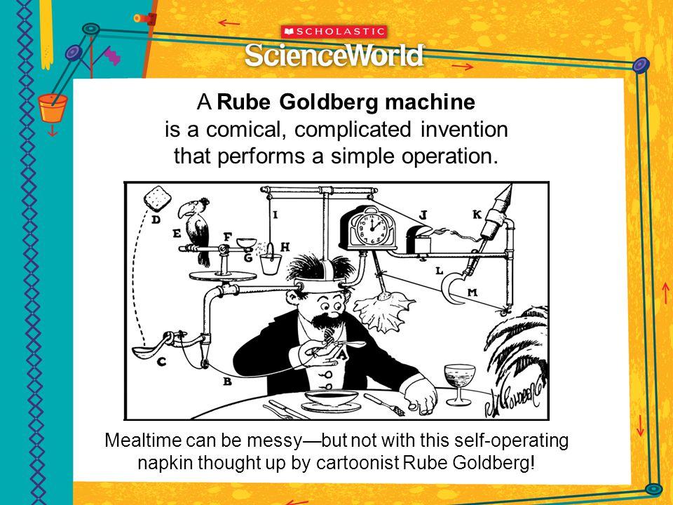A Rube Goldberg machine is a comical, complicated invention that performs a simple operation.