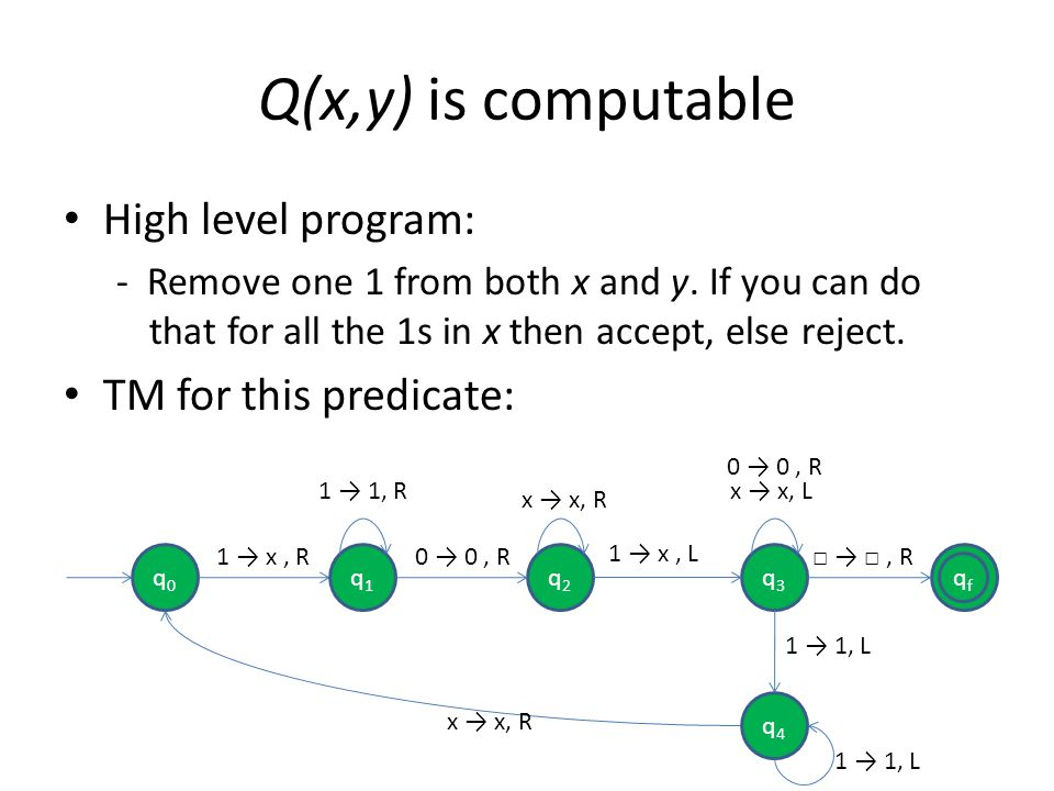 Q(x,y) is computable High level program: TM for this predicate: