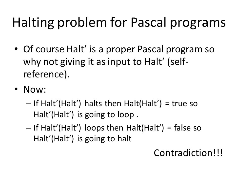 Halting problem for Pascal programs