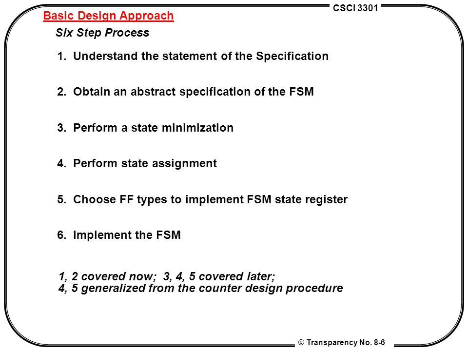 Basic Design Approach Six Step Process. 1. Understand the statement of the Specification. 2. Obtain an abstract specification of the FSM.