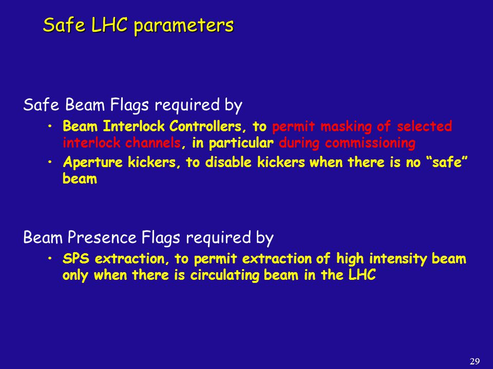 Safe LHC parameters Safe Beam Flags required by