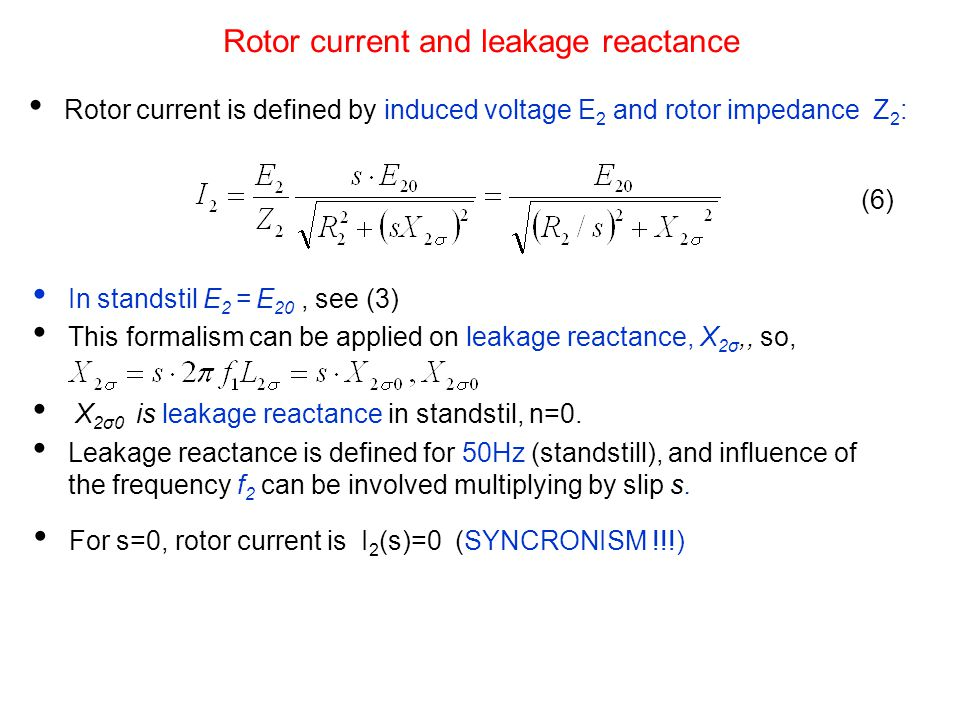 Rotor current and leakage reactance