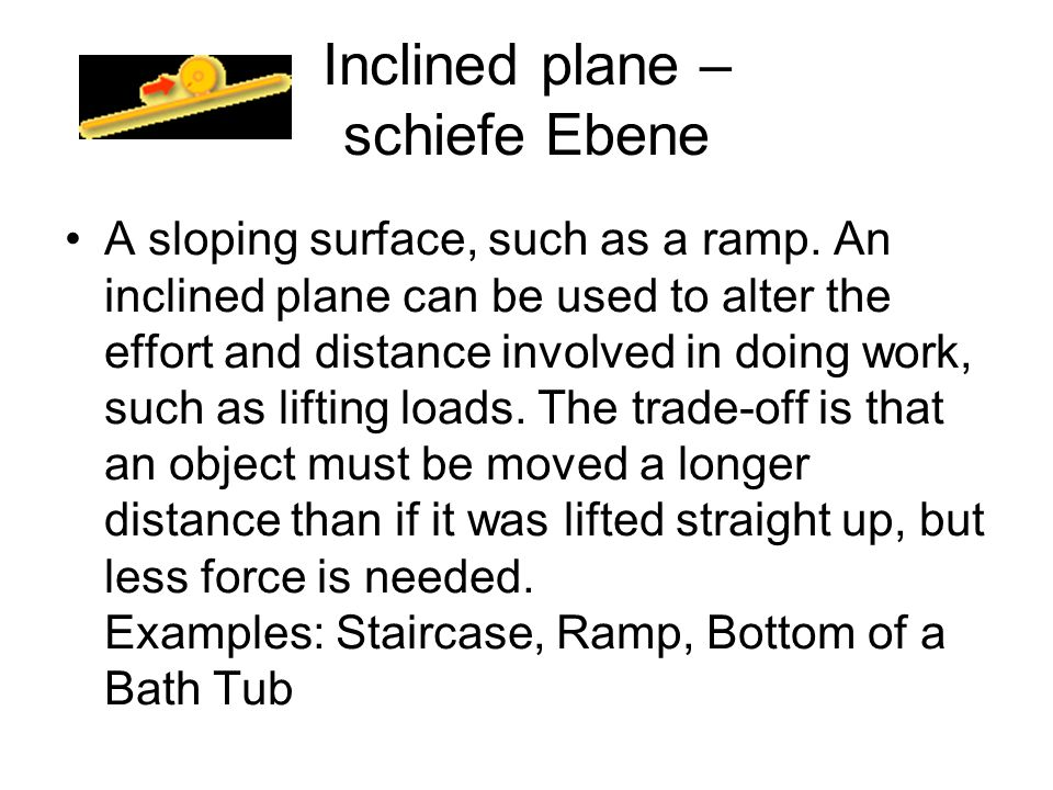 Inclined plane – schiefe Ebene
