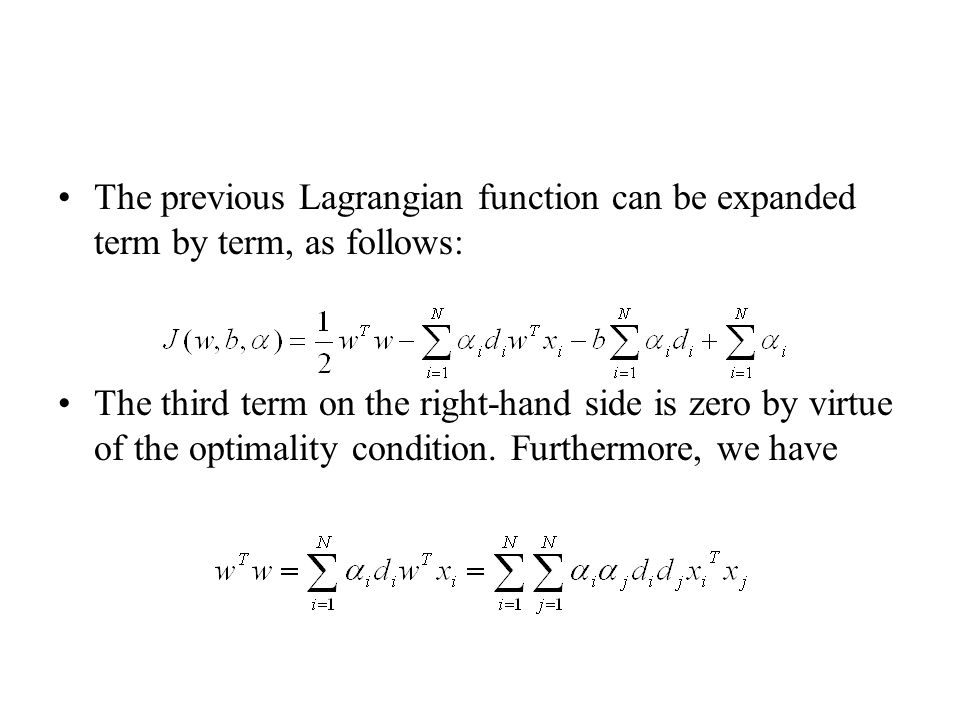 The previous Lagrangian function can be expanded term by term, as follows: