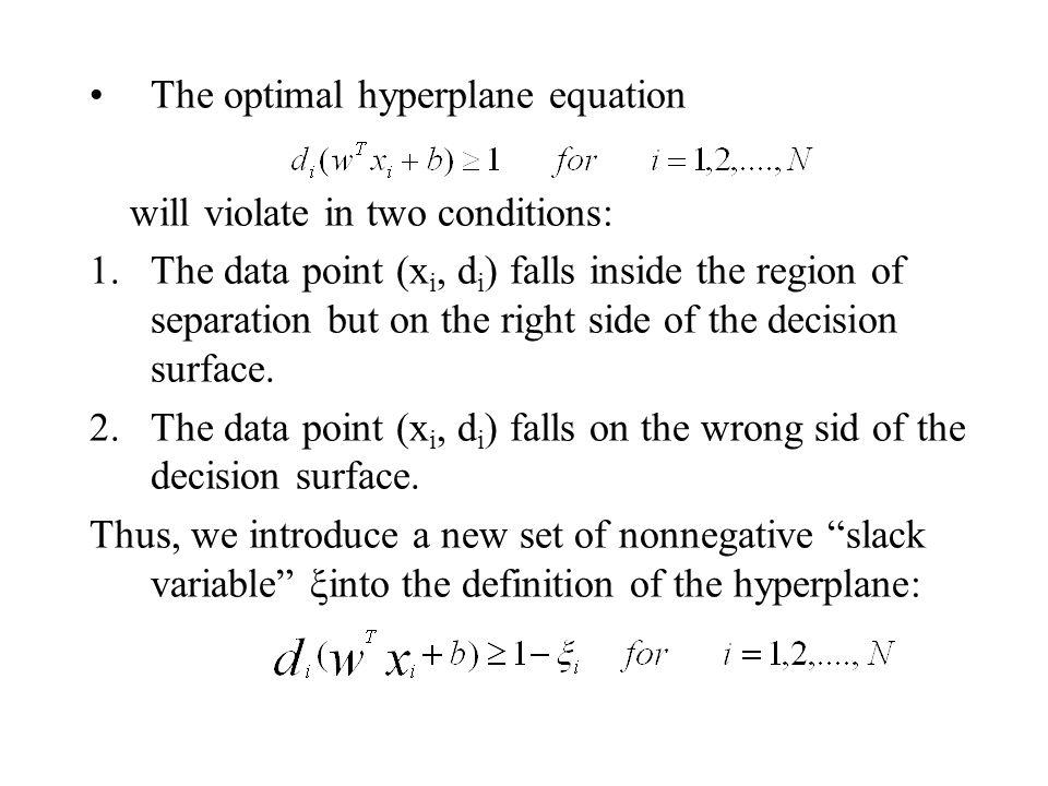 The optimal hyperplane equation