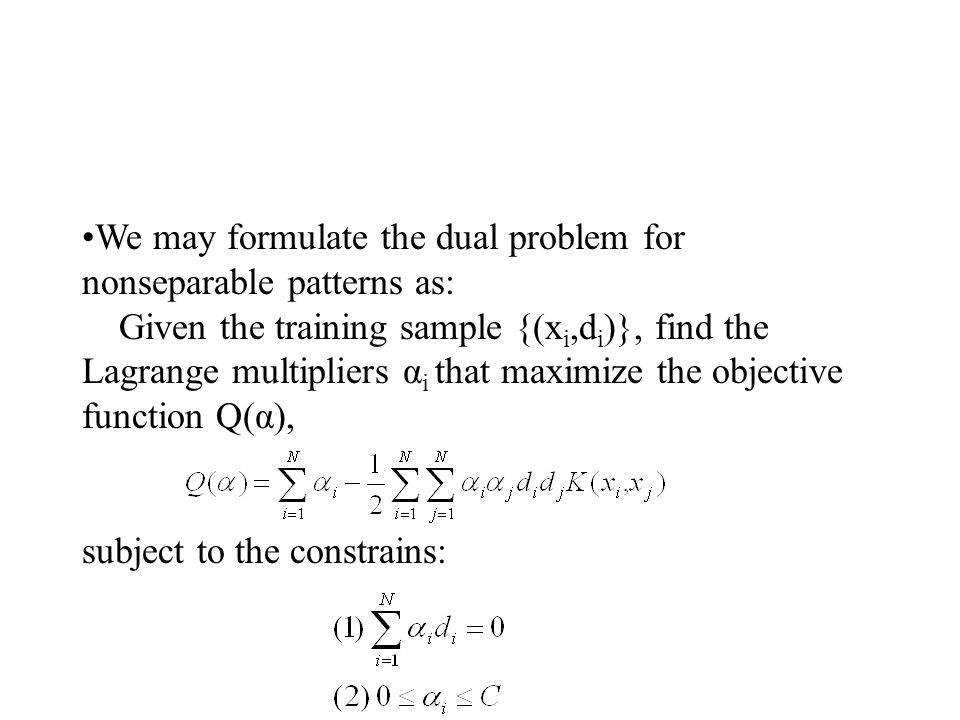 We may formulate the dual problem for nonseparable patterns as: