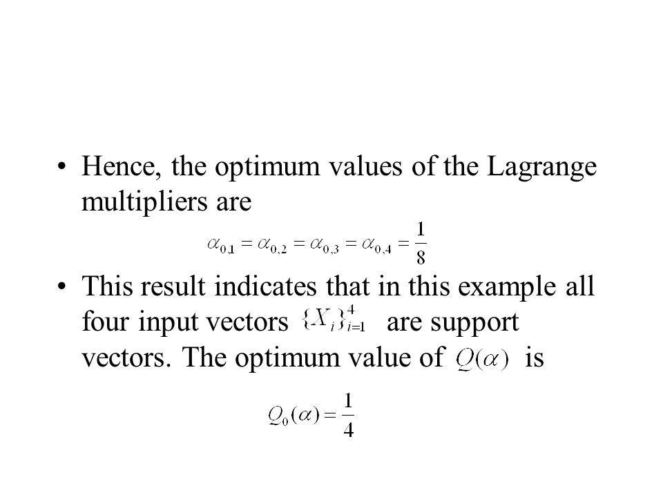 Hence, the optimum values of the Lagrange multipliers are