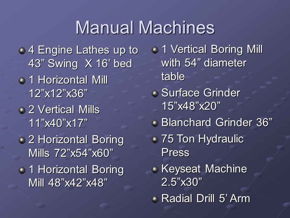 Manual Machines 4 Engine Lathes up to 43 Swing X 16' bed