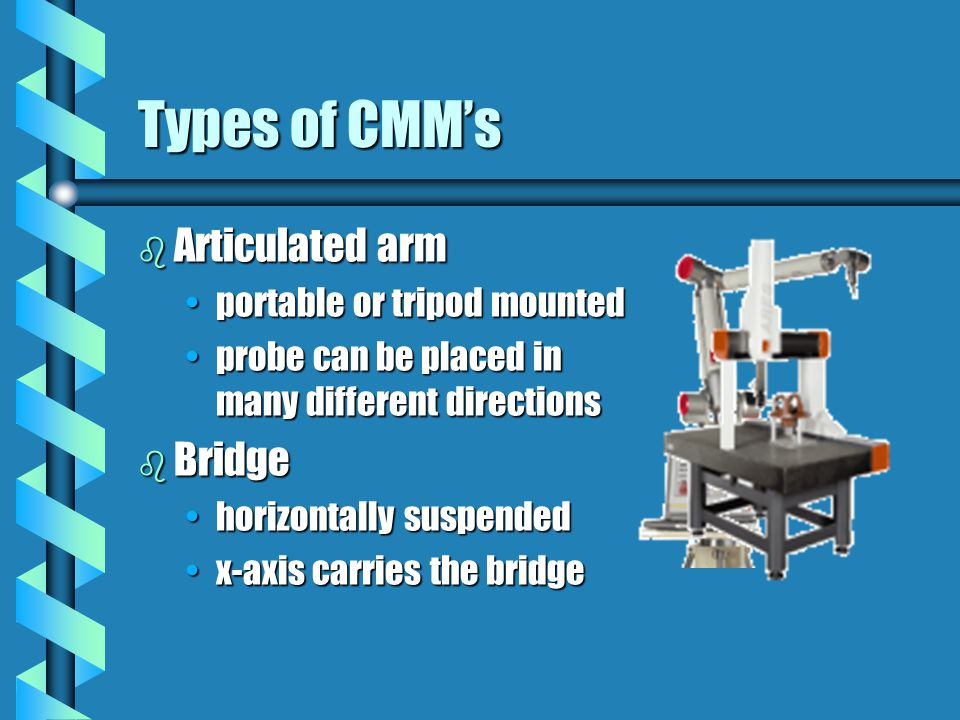 Types of CMM's Articulated arm Bridge portable or tripod mounted