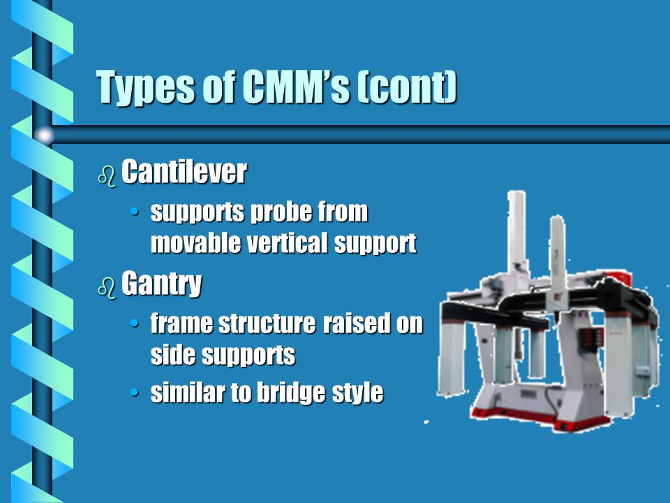 Types of CMM's (cont) Cantilever Gantry