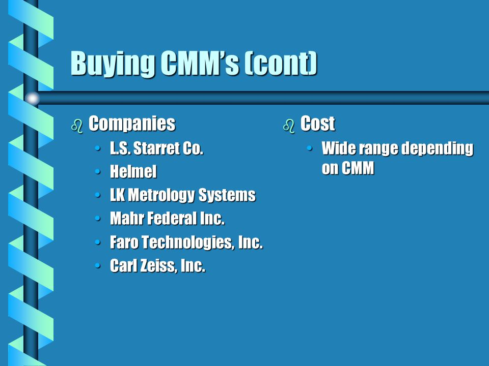 Buying CMM's (cont) Companies Cost L.S. Starret Co. Helmel