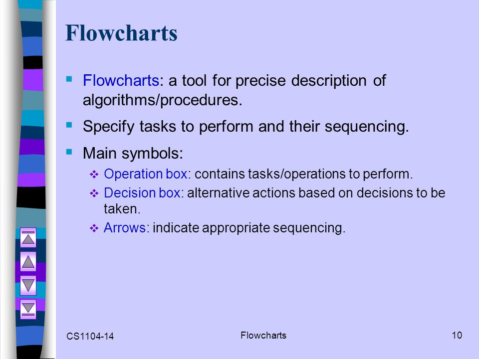 Flowcharts Flowcharts: a tool for precise description of algorithms/procedures. Specify tasks to perform and their sequencing.