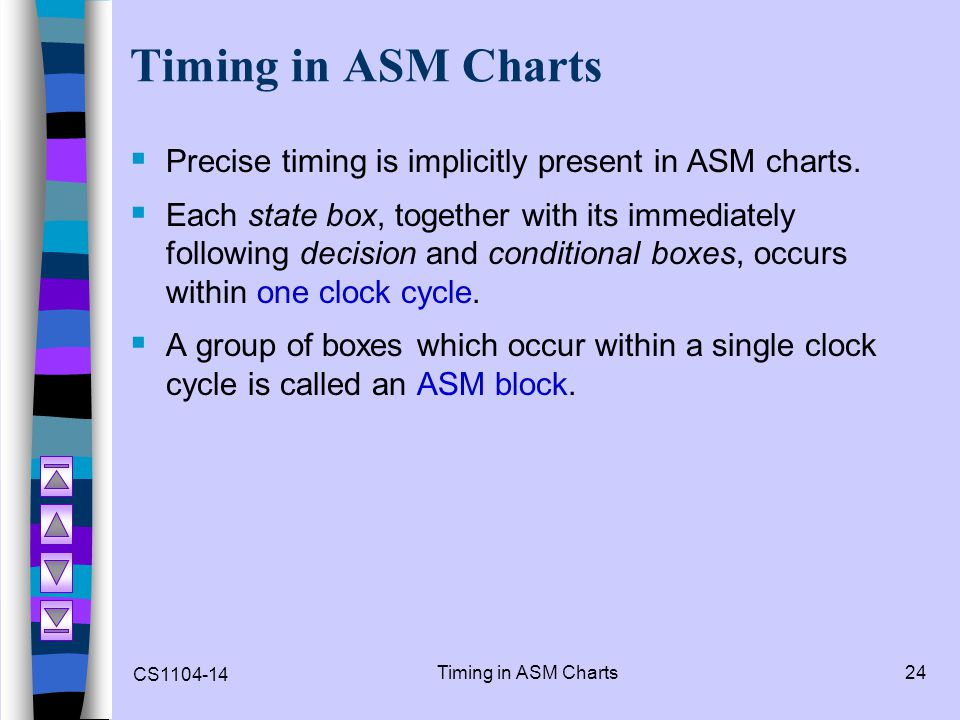 Timing in ASM Charts Precise timing is implicitly present in ASM charts.
