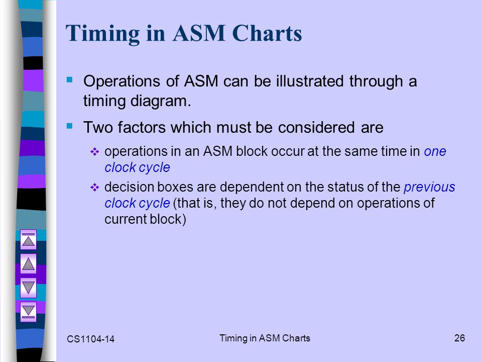 Timing in ASM Charts Operations of ASM can be illustrated through a timing diagram. Two factors which must be considered are.