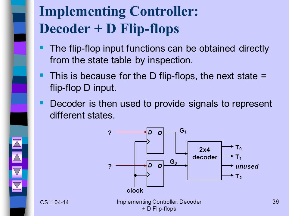 Implementing Controller: Decoder + D Flip-flops