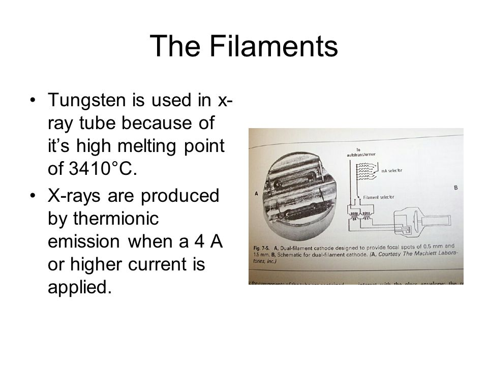The Filaments Tungsten is used in x-ray tube because of it's high melting point of 3410°C.