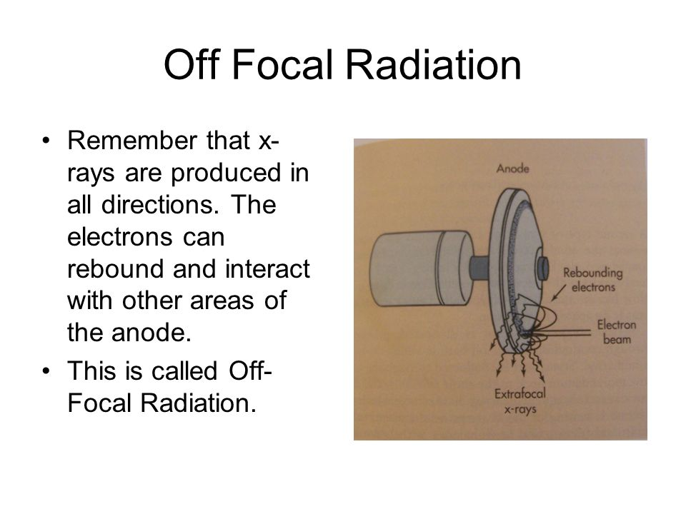 Off Focal Radiation Remember that x-rays are produced in all directions. The electrons can rebound and interact with other areas of the anode.